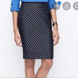 Ann Taylor Navy Polka Dot Pencil Skirt